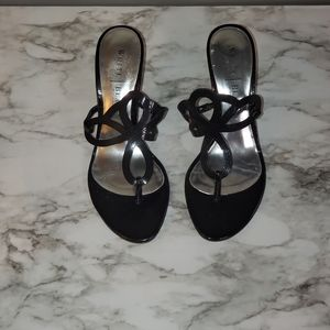 WHBM Black Pattened Leather Heels